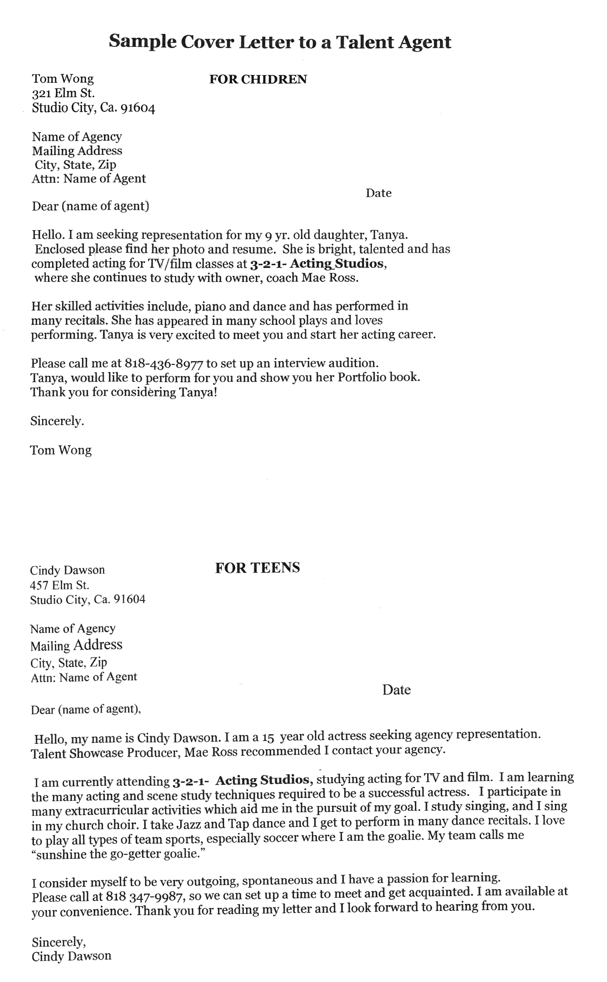 good sample cover letters to talent agents